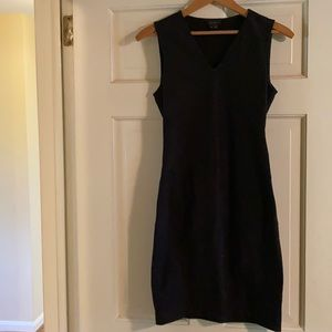 Theory Fitted Mini Black V-Neck Dress